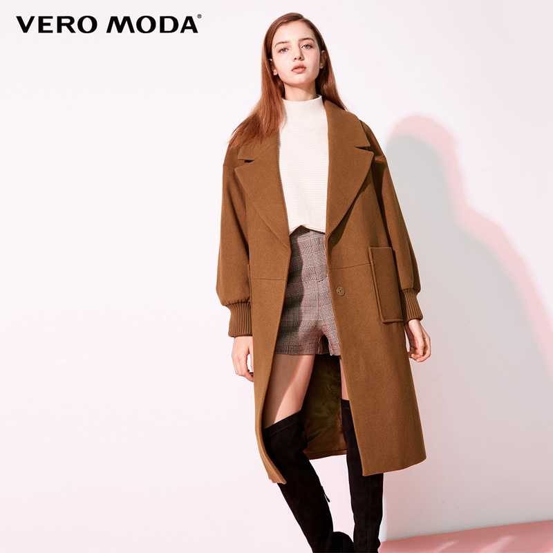 Vero Moda 2019 new workplace loose fit minimalist lapel wool coat women | 318427507