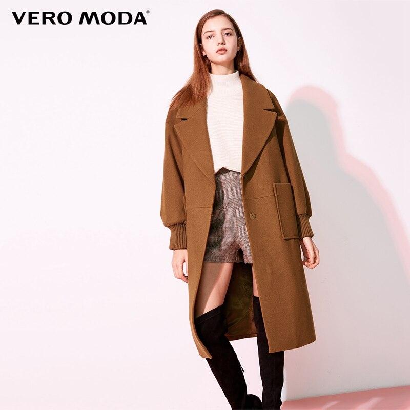 Vero Moda 2019 new workplace loose fit minimalist lapel wool coat women  318427507-in Wool & Blends from Women's Clothing    1