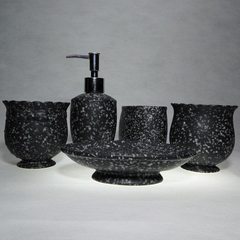 Simple bathroom ceramic cup five pieces of ice copper cup bathroom personal bathroom set LO87448 simple bathroom ceramic wash four piece suit cosmetics supply brush cup set gift lo861050