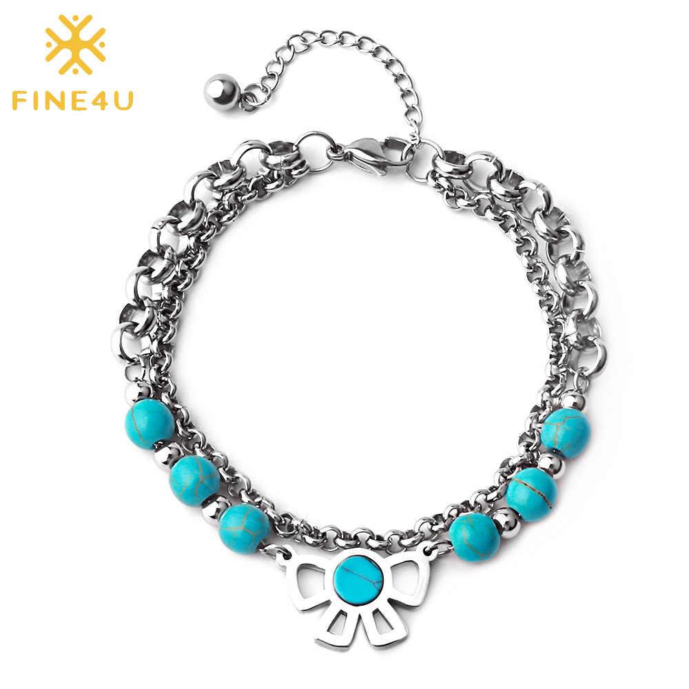FINE4U B177 Double Layer Bow-knot Charm Bracelet Stainless Steel Link Chain Bracelets For Men Women Beads Jewelry