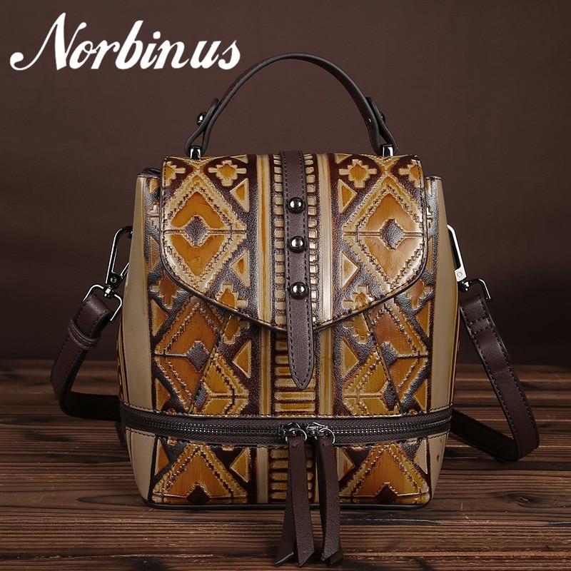 Norbinus Women Genuine Leather Backpacks Embossed Bag Pack Female Vintage Designer Rucksack Small School Bag for Teenager Girls