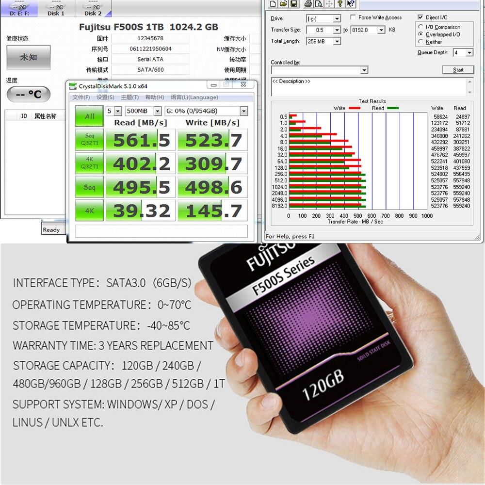 "FUJITSU 2.5"" ssd 1tb sata3 ssd 1024G 3D NAND Flash SMI/Phison/Realtek TLC ssd hard drive Solid State Drives for desktop laptop 5"