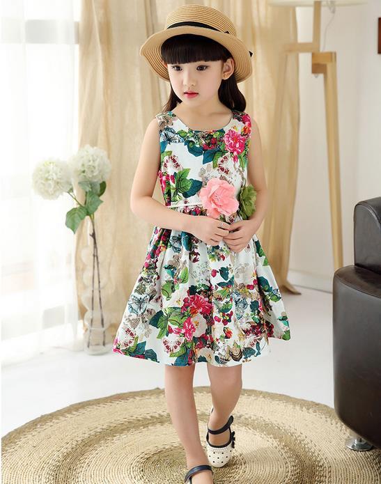Meninas Vestido de verão 2019 novo Vestido Sem Mangas Vestido de Flores de Algodão Do Bebê Roupa Dos Miúdos 3-12 anos Bebê Roupas de Menina