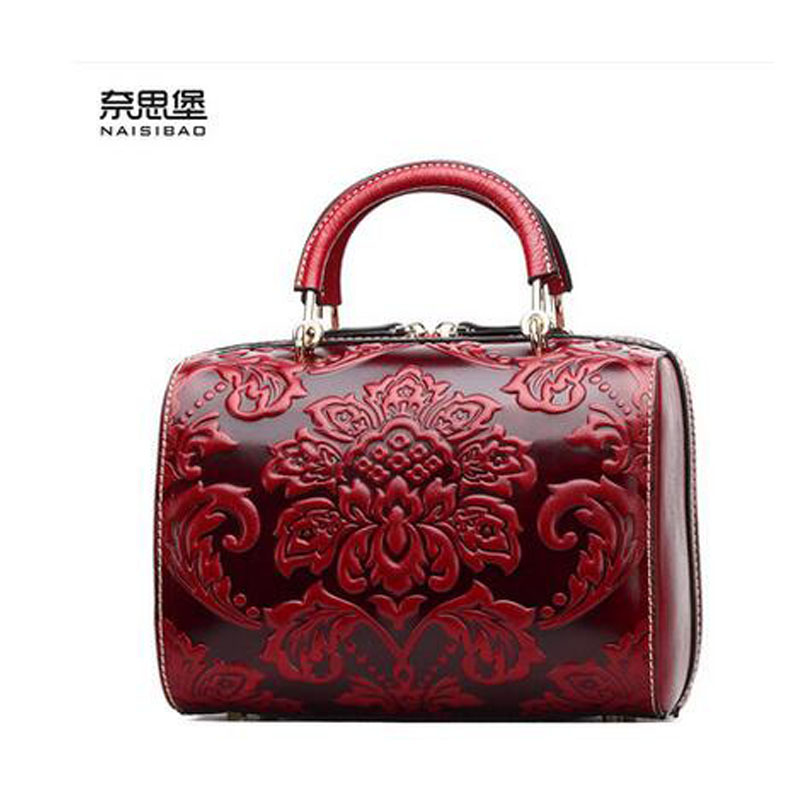 2016 New women genuine leather bag fashion chinese style quality luxury handbags women shoulder cowhide embossing boston bag