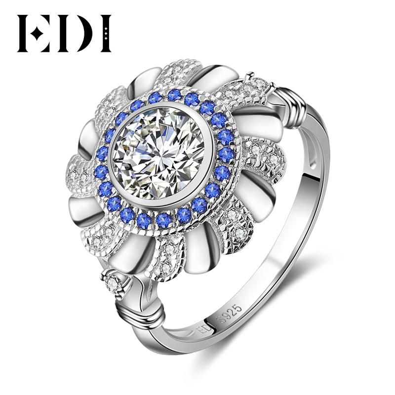 EDI Women Genuine 14k 585 White Gold Ring Brilliant Diamond Jewelry For Women Natural Sapphire Luxury Female Bands Gifts
