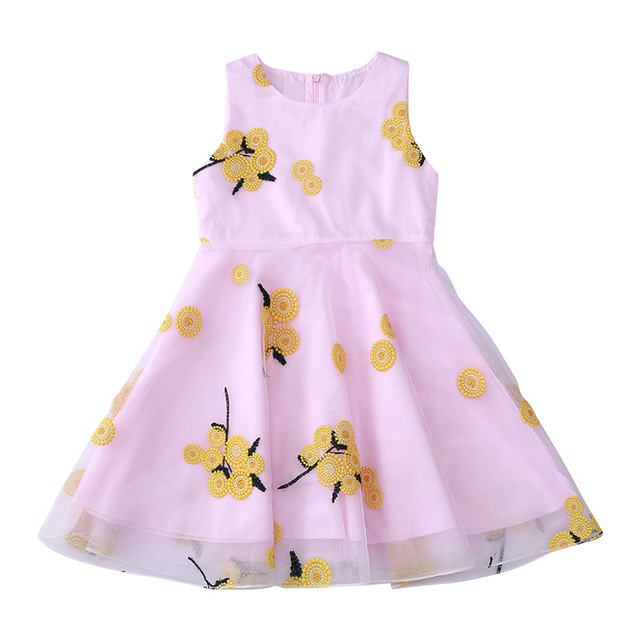 2018 Summer Style Flower Girls Dress Toddlers Teen Children Princess Clothing Fashion Kids Party Clothes Sleeveless Dresses 4