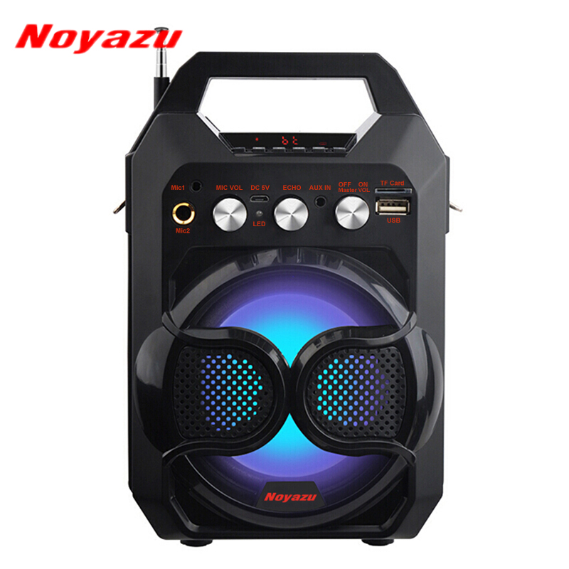 Noyazu Portable Wireless Bluetooth Speaker Mini Loudspeaker with Flashing Lights FM Support TF Card USB Play & Built in Mic