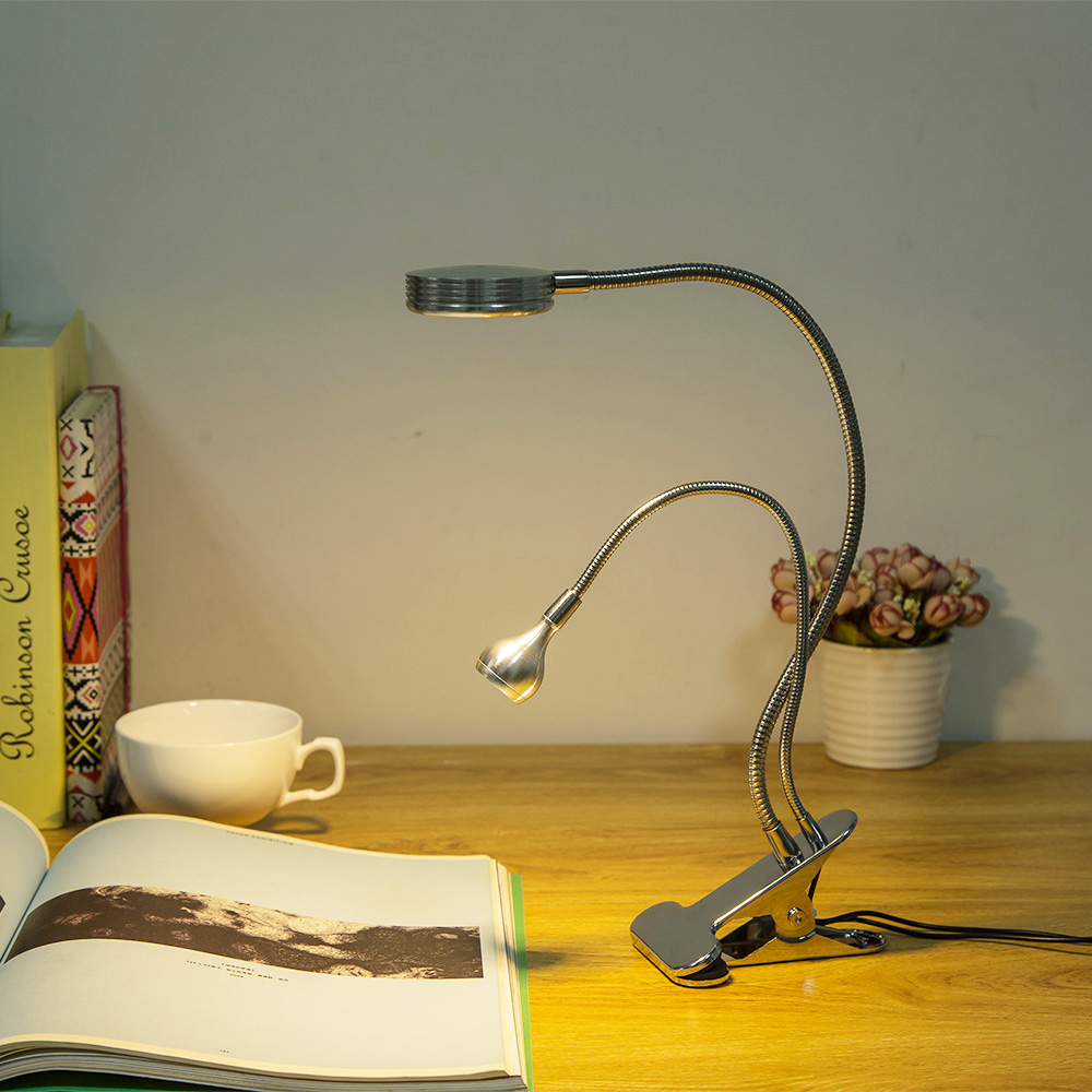 LED Reading Lamp Dual Arms 2 LEDs With Clip Flexible Book Sheet Music Stand Reading Light Student Dormitory Lights in Book Lights from Lights Lighting