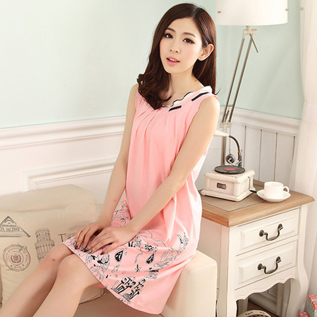 062b0c7c50 Summer Dress Plus Size Sleepwear Women White Cotton Princess Nightgown  Cartoon Cute Nightdress Vintage Sleepwear For Women
