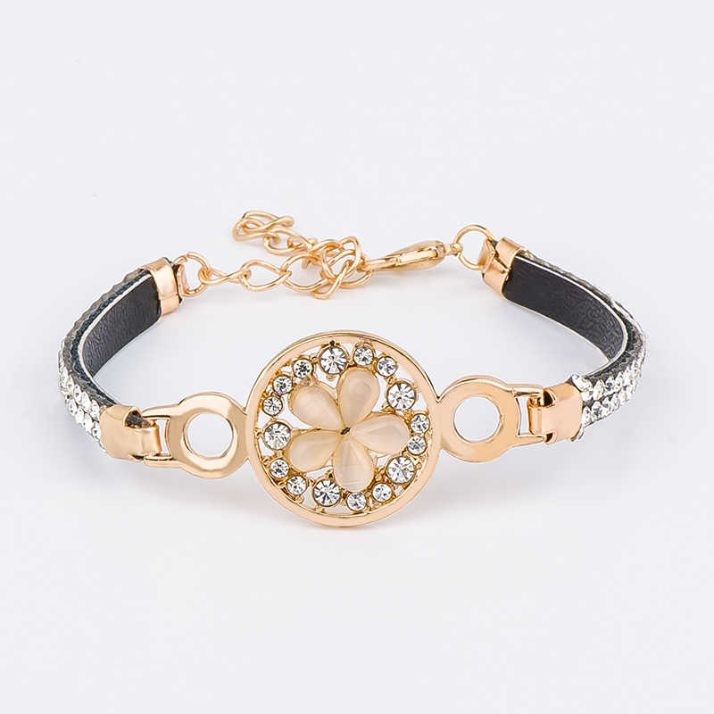 MISANANRYNE Gold Color Austrian Crystal Gorgeous Flower Cat's Eye Stone Alluring Bracelet For Women 13 Styles Fashion Jewelry