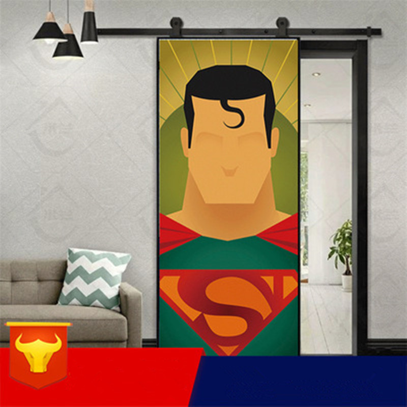 90x200cm Japanese Funny Superman Vinyl Door Stickers For Living Room Kids Room Personality Self Adhesive Decor Decals Renovation