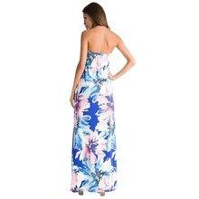 فستان صيفي مثير طويل بطباعة أزهار رائعة و بدون أكتاف و أكمام