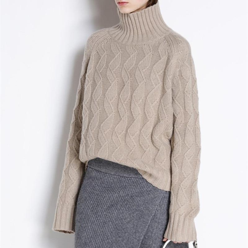 Épais pull à col roulé et pull pull oversize laine pull au crochet femmes hiver 2019 chaud chandail tricoté tricots