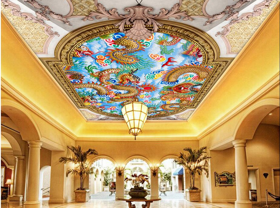 customize 3d ceiling murals Relief dragon ceiling ...