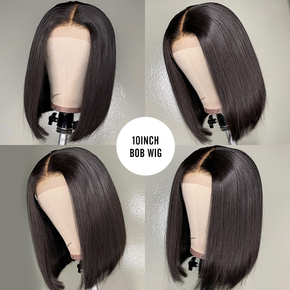 Brazilan Straight Glueless Bob Short 13x6 Lace Front Human Hair Wigs Pre Plucked For Black Woman