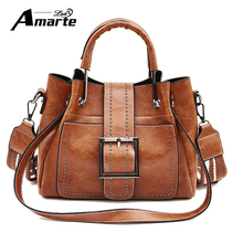 Amarte PU Leather Women Handbag Scurb Leather Women Shoulder Bags Metal Handle Casual Tote Bag Women Vintage Bucket Shoulder Bag metal handle winged tote bag
