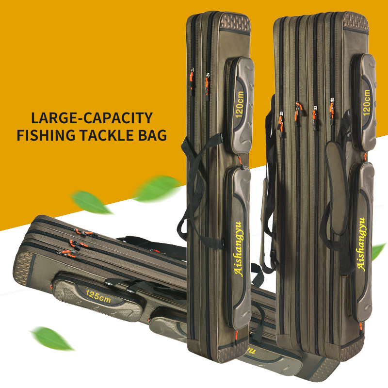 Multifunction Portable Fishing Bag Pesca Canvas 80/90/120CM Fishing Rod 3 Layer 4 Layer Travel Carry Fishing Reel Bags XA111G