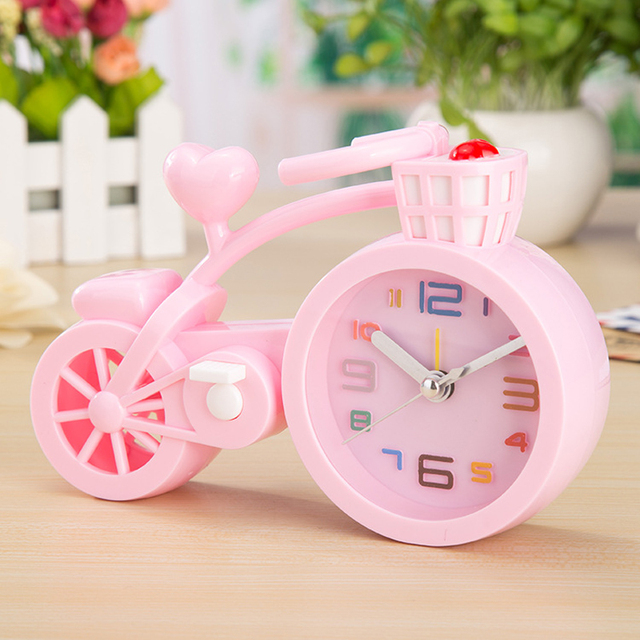 1pc Newest Cartoon Colorful Bike Girls Gifts Alarm Clock Fashion Home Decor Clocks Alarm Clock Wake Up for Kids Student
