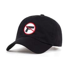 Ningún arma permite bordado unisex gorras de béisbol mujeres algodón  ajustable snapback negro sombreros hombres al aire libre ta. eedf29c1f43