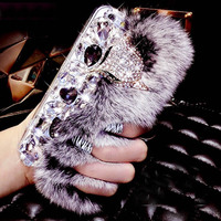 New Design RHinestone Rabbit Fur Phone Cases Plastic Phone Shell Back Cover For IPhone 4 4s