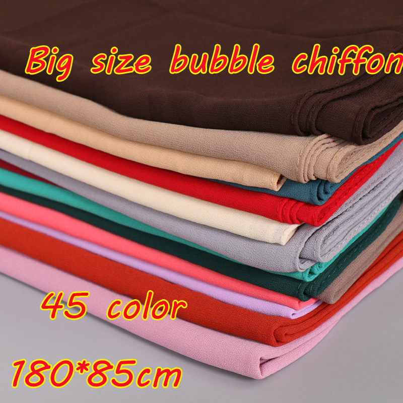 Big size women High quality bubble chiffon printe solid color shawls hijab winter muslim 45 color scarves/scarf 180*85cm-in Women's Scarves from Apparel Accessories