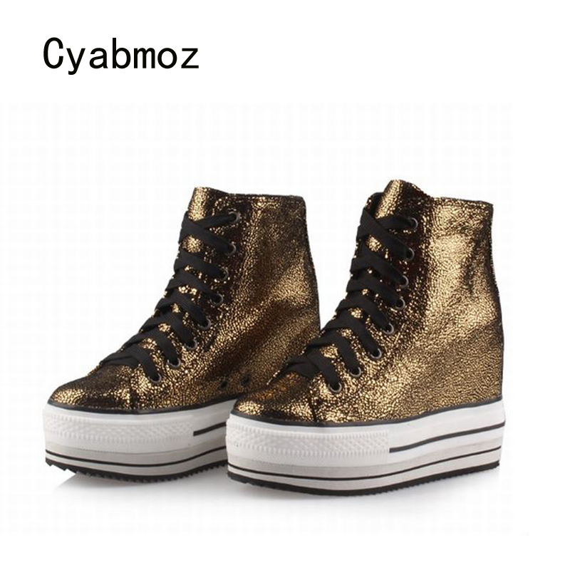Cyabmoz Women Platform Shoes Wedges Woman Leopard High heel Lace up Height increasing Casual Ladies Party shoes Zapatillas mujer pinsen 2017 summer women flat platform sandals shoes woman casual air mesh comfortable breathable shoes lace up zapatillas mujer