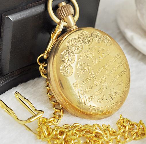 купить Vintage Watch Manufacturers Style Copper Case Pocket Watch with Chain Mechanical Hand Winding Top Quality Best Gifts PJX1015 дешево