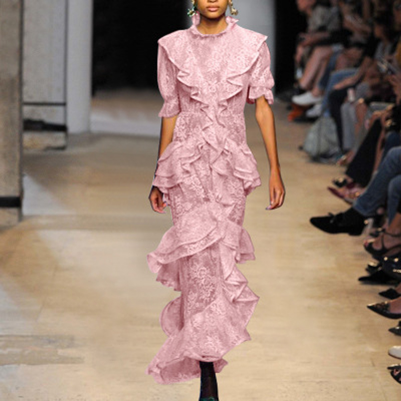 Nouvelle mode d'été rose douce à manches longues robe formelle robe femmes partie Cocktail O cou longue robe pour dames Vestidos en gros