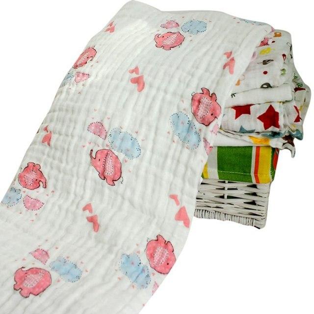 120x120cm Winter Muslin Baby Cartoon Cute Swaddling Blanket Newborn Infant Cotton Autumn Warm Swaddle Towel V2