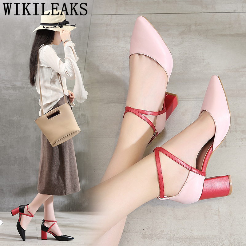 leather sandals women party shoes thick heel pumps women shoes block heel sandal wedding shoes bride fetish high heels tacones basic pump