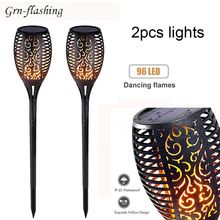 1Pcs 2Pcs 96 LED Solar garden Flame light Flickering Torch lamp  Outdoor Waterproof IP65 lawn Landscape Yard Path decor Lighting