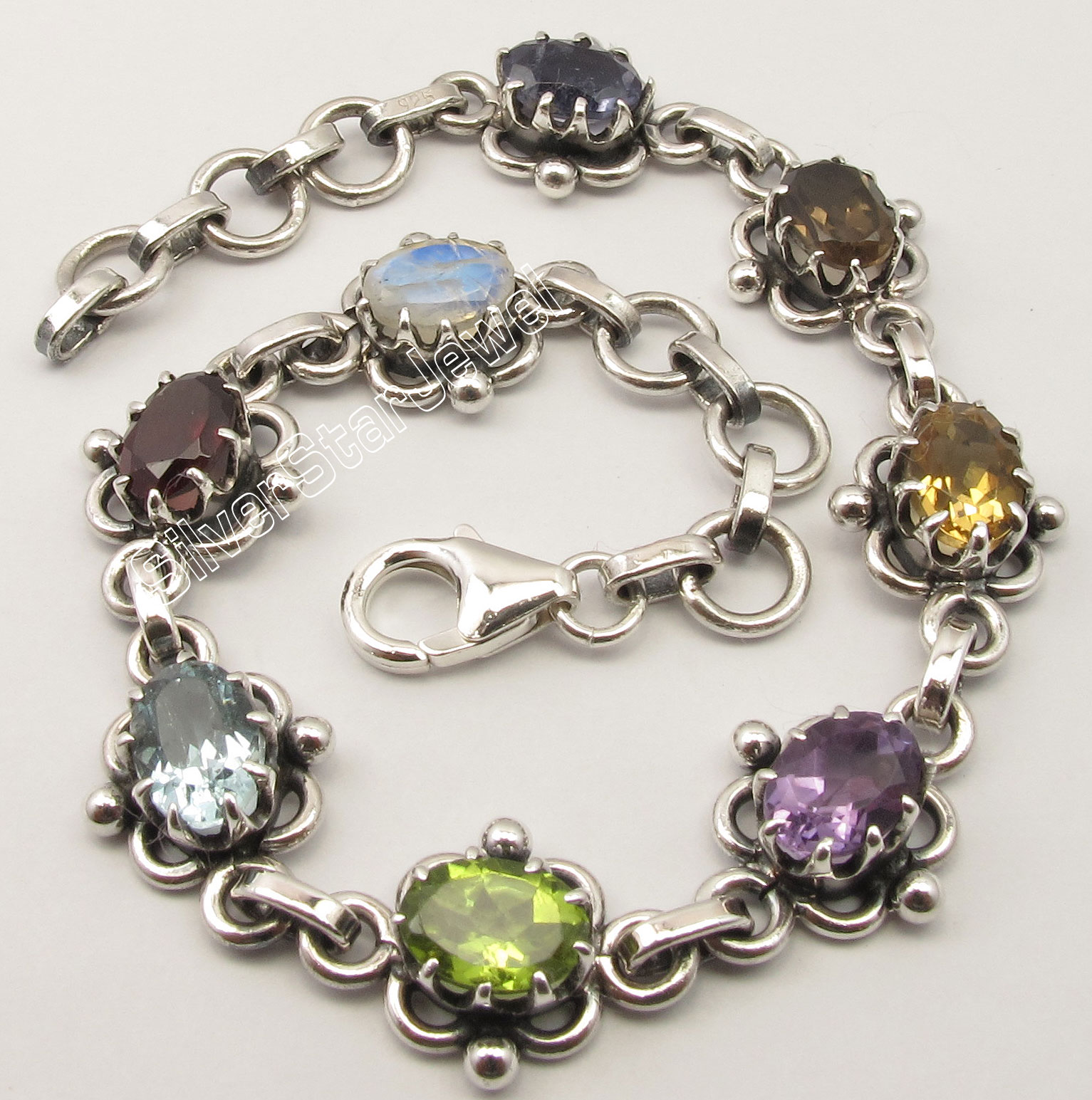 Chanti International Pure Silver MULTISTONES CLAW Setting ETHNIC Bracelet 7 3/4 Inches OXIDIZED