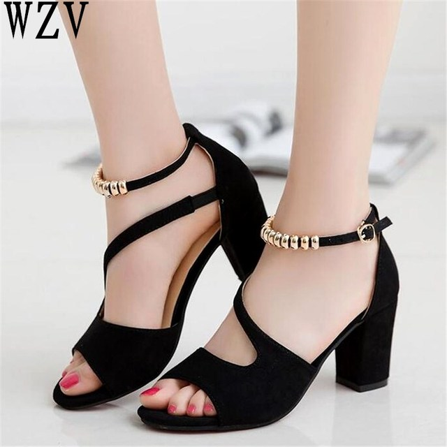 2019 spring summer sexy fish mouth hollow Roman sandals thick with word with metal beaded high heels female sandals E538