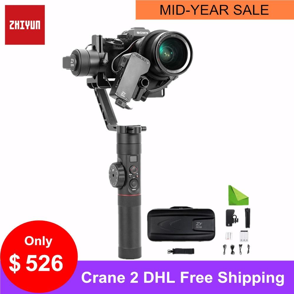 Zhiyun Crane 2 stabilisateur de cardan à main 3 axes pour Canan Nikon Sony Focus Balance d'affichage de la charge utile appareil photo sans miroir DSLR