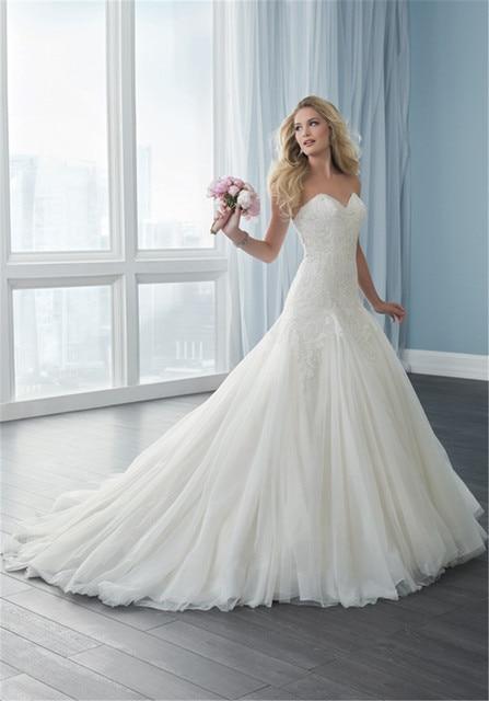 667778eb13c9 Strapless Applique Lace A-line Dropped flowy fullness Tulle Skirt Wedding  Dress 15624 vestido de novia