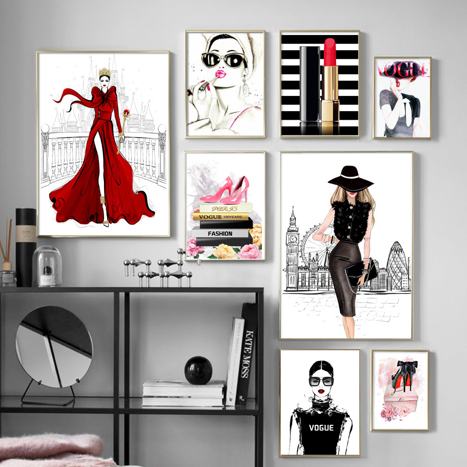 Fashion Book Girl High Heels Lipstick Wall Art Canvas Painting Nordic Posters And Prints Wall Pictures For Living Room Decor