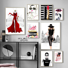 Fashion Book Girl High Heels Lipstick Wall Art Canvas Painting Nordic Posters And Prints Pictures For Living Room Decor