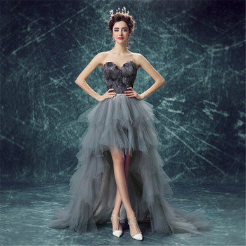 Sexy Ball Gown High Low Sweetheart Tulle Feathers Luxury Gray Black Evening Dresses Bride Banquet Party Prom Dress XK63