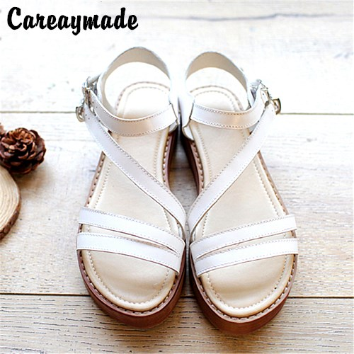 Big size,2016 new Genuine Leather pure handmade Leisure simple literature and art Sandals,retro art mori girl shoes,3 colors