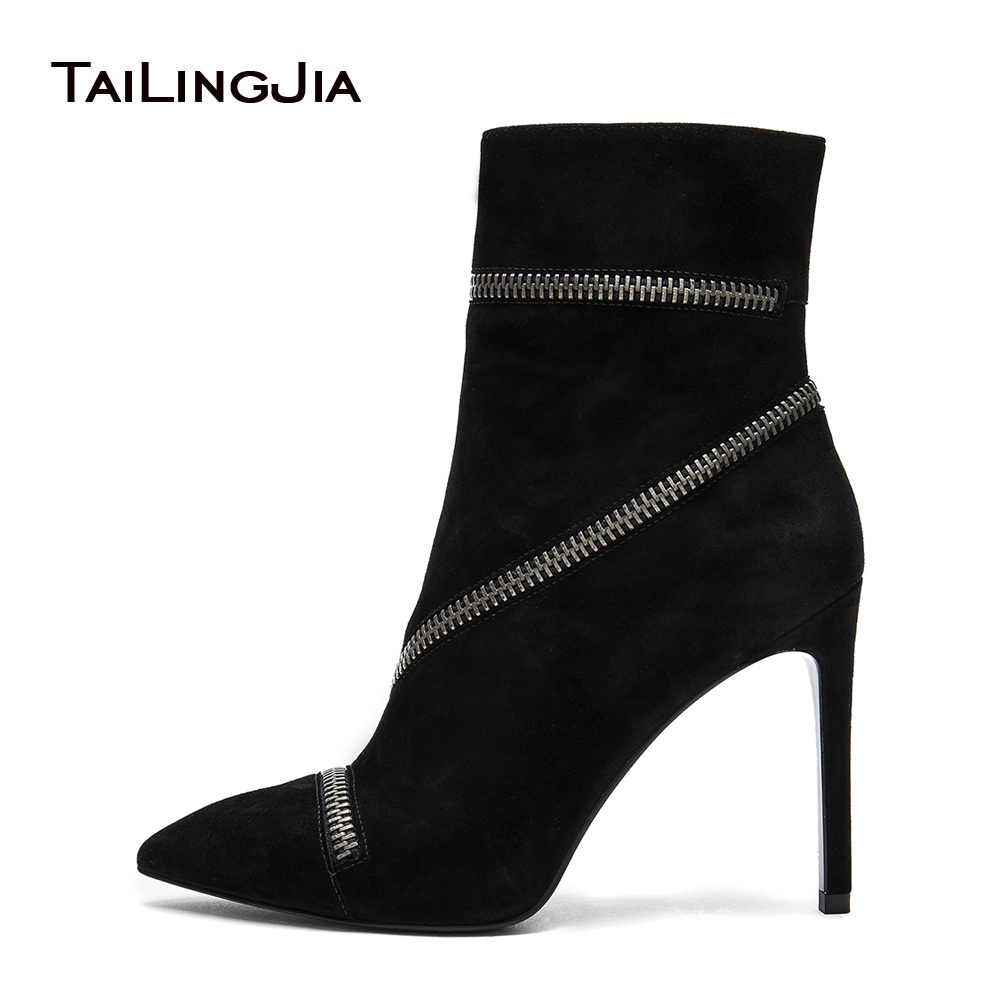 Women Black High Heel Booties Ladies Pointed Toe Zipper Faux Suede Warm Lining Stiletto Ankle Boots Large Size Wholesale 2017 faux suede stiletto ankle boots dusty rose