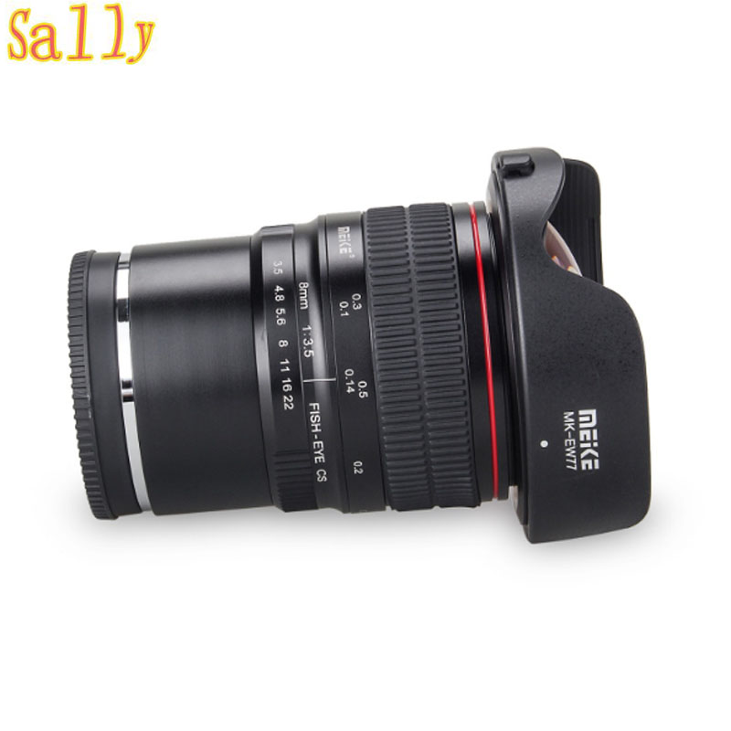 Objectif Fisheye grand Angle Meike 8mm f/3.5 pour appareil photo Sony Alpha et Nex sans miroir avec APS-C