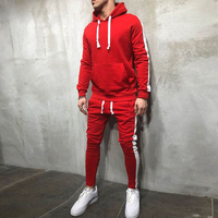 2018 Men's Sets 2 Pieces Sweatsuits Mens Tracksuit Pullover Hoodie and Pants Strips Hooded Sweatshirt Sportswear Mens Clothing