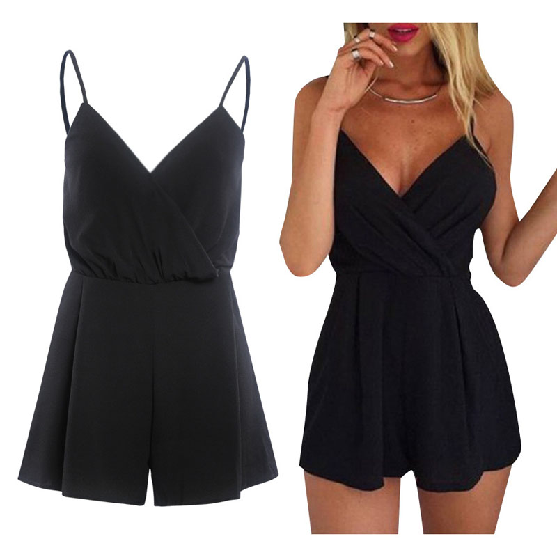 Summer hot Jumpsuit 2018 Sexy Slim Striped Loose Halter Jumpsuit and V-Neck Loose Fit Shorts High quality jumpsuit Free shipping
