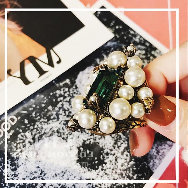 Купить женское кольцо с жемчугом винтажное золотого цвета большим кристаллом
