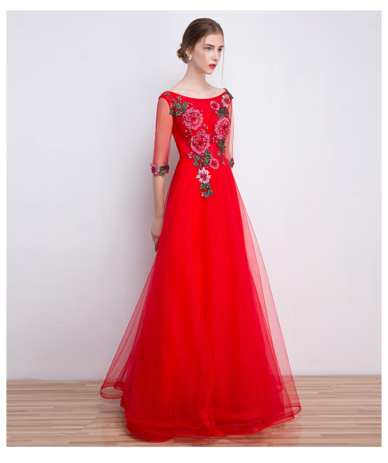 87e44aa03e968 Red Evening Dress Chinese Traditional Embroidery Cheongsam Long ...