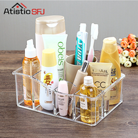 6 Lipstick Holder Display Stand Clear Acrylic Cosmetic Organizer Makeup Case Sundry Storage makeup organizer organizador 1100