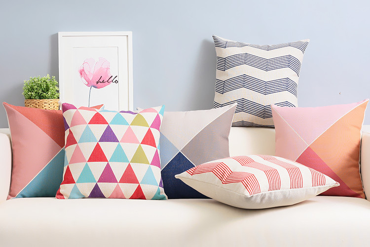 Modern Rhombus Abstract Color Lines Geometric Pillow Cushion Linen Pillowcase Sofa Cushions Home Decorative Pillows
