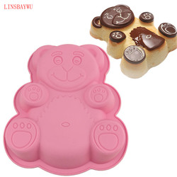 LINSBAYWU 1 pc Bear Shape Cake Mold Silicone Large Size 3D Cartoon Bear Chocolate Baking Mold Bakeware Maker Mold Tray