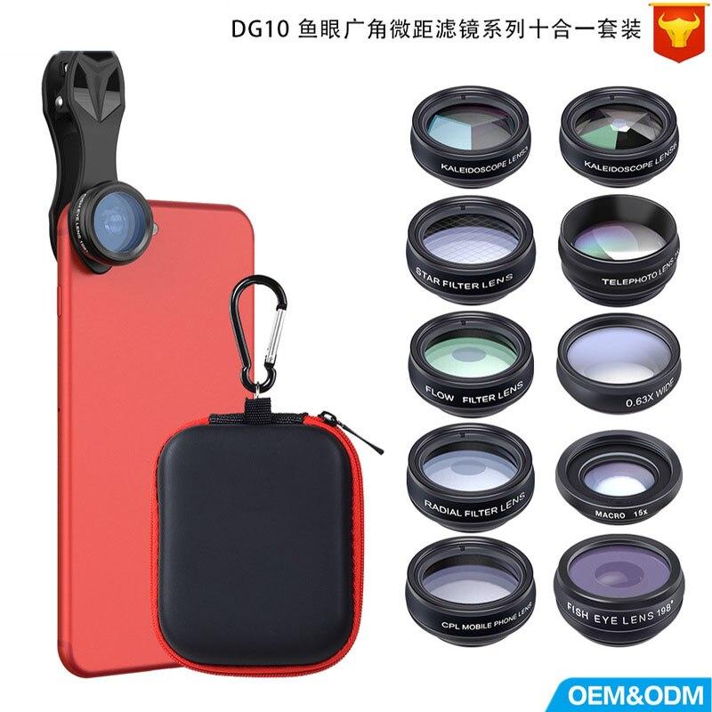 Filtre multifonction Fisheye grand Angle Micro-gamme polarisation accrue dixième ensemble d'objectif universel pour téléphone portable