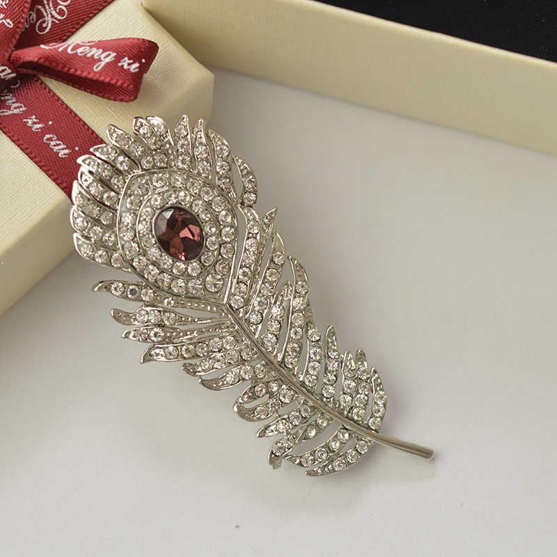 Mzc Vintage Perak Merak Bulu Bros Pin Berlian Imitasi Kristal Hewan Pernikahan Broach untuk Pria Aksesoris Murah X0980